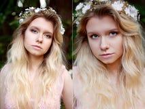 美丽的新娘金发碧眼的女人画象桃红色鞋带礼服的在手工制造头发的装饰品 大脸面护理 拼贴画 图库摄影