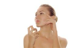 美丽的新表面parfum性感的妇女 免版税库存图片