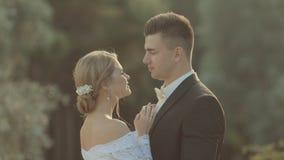 美丽的新郎轻轻地拥抱新娘的腰部, 股票视频