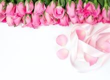 美丽的新鲜的甜桃红色玫瑰和红色丝带边界lov的 免版税库存照片