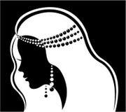 美丽的方式珠宝豪华剪影妇女 向量例证