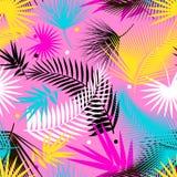 美丽的无缝的热带与棕榈叶的密林花卉样式背景 流行艺术 时髦样式 明亮的颜色 免版税库存照片