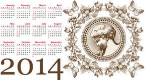 美丽的日历在2014年。天使。 免版税库存图片