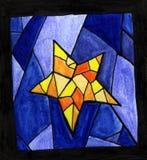 美丽的星彩色玻璃 向量例证