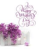 美丽的春天丁香和小篱芭在白色背景和文本愉快的母亲节 书法字法手 库存图片
