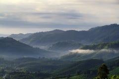 美丽的景色从山绿色山谷小河风景到分类 图库摄影