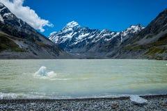 美丽的景色和冰川在库克山国家公园,南岛 免版税库存图片
