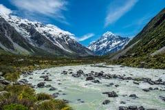 美丽的景色和冰川在库克山国家公园 图库摄影