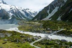 美丽的景色和冰川在库克山国家公园 库存照片