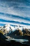 美丽的景色和冰川在库克山国民  免版税库存照片