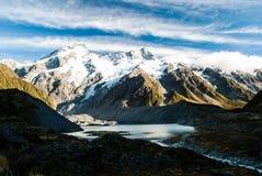 美丽的景色和冰川在库克山国民  库存照片