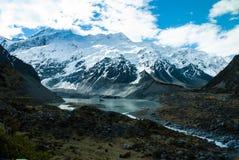 美丽的景色和冰川在库克山,南部是 免版税库存照片