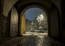 美丽的景色在布拉格通过门在冬天 免版税库存照片