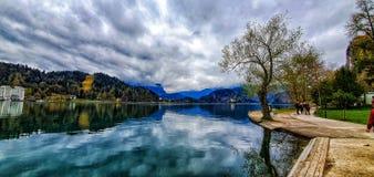 湖的美丽的景色 库存图片