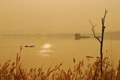 美丽的景色遮蔽轻的长尾的小船日出 免版税库存照片
