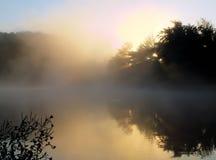 美丽的有薄雾的湖 免版税库存照片