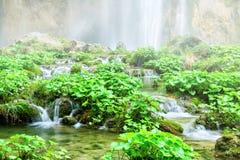 美丽的有薄雾的瀑布 库存图片
