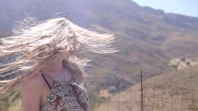 美丽的有风头发 影视素材