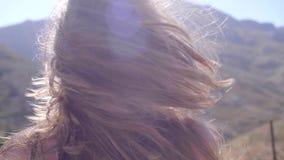 美丽的有风头发 股票录像
