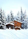 美丽的木森林房子浪漫的冬天 库存照片