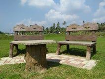 美丽的木椅子在斯里兰卡的公园 免版税图库摄影