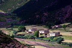 美丽的村庄在西藏 免版税库存图片