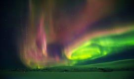 美丽的极光borealis在冰岛,在早冬天perio的射击 库存照片