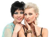 美丽的查出的二白人妇女 免版税库存图片