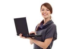 美丽的查出的膝上型计算机妇女 免版税库存图片
