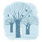 美丽的树、鸟和兔子 免版税库存照片
