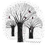 美丽的树、鸟和兔子 库存照片