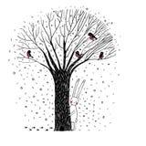 美丽的树、鸟和兔子 库存图片