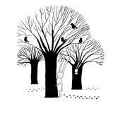 美丽的树、鸟和兔子 免版税库存图片