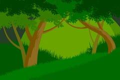 美丽的树绿色森林场面传染媒介 图库摄影