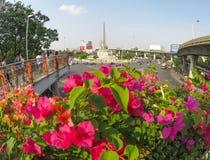 美丽的桃红色九重葛花有胜利纪念碑看法在一个圆形交通路口的中心在交叉点的 免版税库存图片