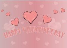 美丽的桃红色卡片为所有恋人天 一愉快的圣华伦泰` s天的题字 免版税库存图片