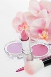 美丽的桃红色和淡紫色化妆用品 库存图片