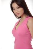美丽的桃红色妇女 免版税库存照片
