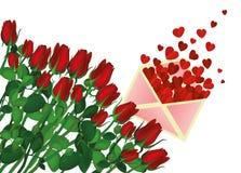 美丽的桃红色花 与空白和礼物垂饰的玫瑰 库存图片