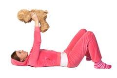 美丽的桃红色运动装妇女年轻人 图库摄影