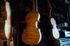 美丽的棕色木小提琴的串乐器特写镜头视图  库存照片