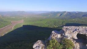 美丽的森林横向山 射击 一座山的上面的顶视图与一个绿色森林的 股票视频