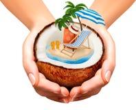 美丽的概念池假期妇女年轻人 棕榈树、手提箱和伞 皇族释放例证