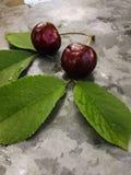 美丽的樱桃在桌上和在茶碟 樱桃和樱桃核,在板材挖坑 图库摄影