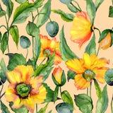 美丽的橙色和黄色威尔士鸦片开花与在米黄背景的绿色叶子 无缝花卉的模式 库存例证