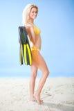 美丽的比基尼泳装废气管妇女年轻人 图库摄影