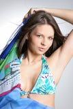 美丽的比基尼泳装蓝色性感的妇女 免版税图库摄影