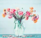美丽的毛茛属可爱的花束在桌上的玻璃花瓶开花在浅兰的绿松石背景 图库摄影