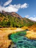 美丽的河用在秋天中的天蓝色的透明的水调遣 免版税图库摄影