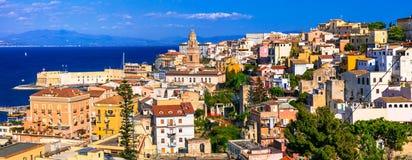 美丽的沿海城市加埃塔看法  意大利,拉齐奥的地标 库存图片